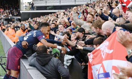 Aubameyang, Arsenal celebrates