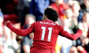 Mohamed Salah scores for Liverpool.